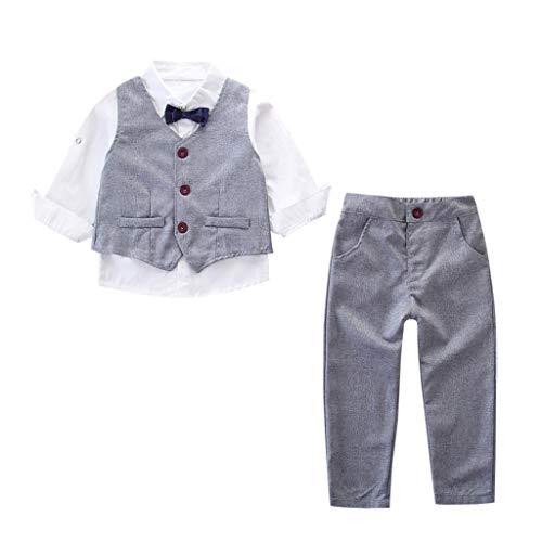 MRULIC Baby Junge Bowtie Gentleman Weste T-Shirt Hosen Hochzeit Anzug Tuch Sets(C-Grau,Höhe:80-90cm)