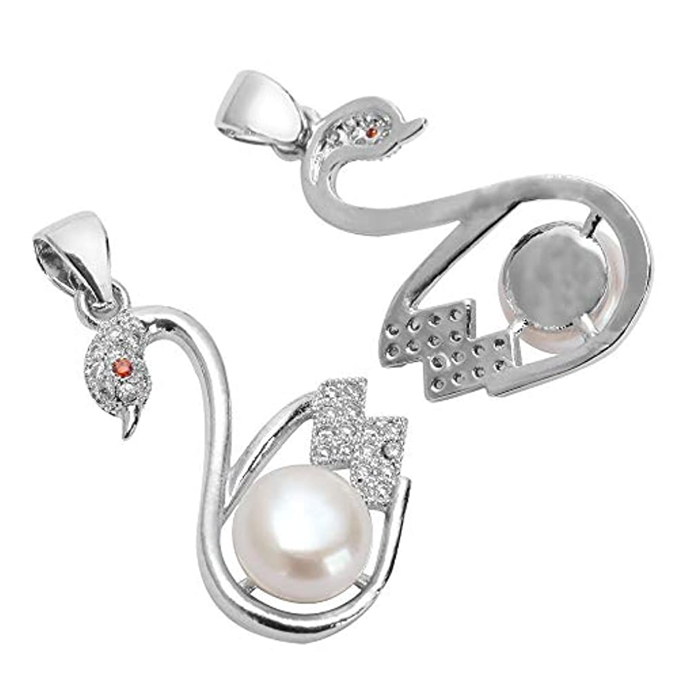 1pc Top Quality Silver Swan Pendant with Natural Pearls & Man Made Diamond Simulants # MCAC41