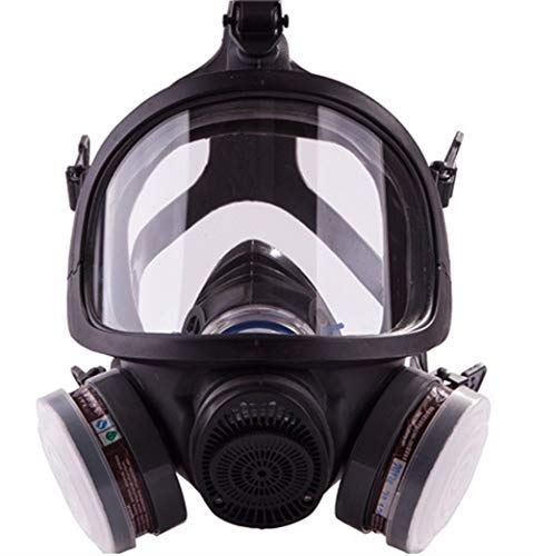 Full Face Organic Vapor Respirator,Professional Respiratory Mask with Double Activated Air...
