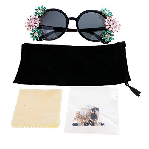 #N/A Mujeres Vintage Negro Grande Flor Redonda Imitación Rhinestone Cristalino Barroco Gafas De Sol Cadena 80 Cm