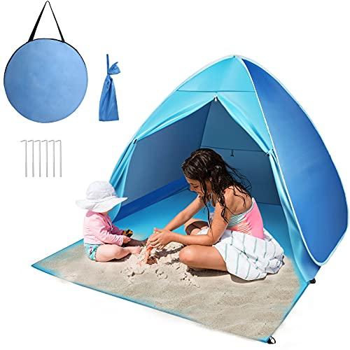 Strandmuschel Pop Up, Strandzelt Zelt mit Türvorhang und Windschutz UV-Schutz 50+, Familie Kinder Portable Outdoor Beach Tent für 2-3 Personen
