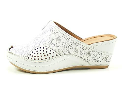 Gemini 031509-02 Schuhe Damen Sandalen Pantoletten Clogs, Größe:41 EU, Farbe:Weiß