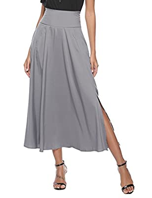 Aibrou Women High Waist A-Line Front Slit Pleated Belted Maxi Skirt with Pocket