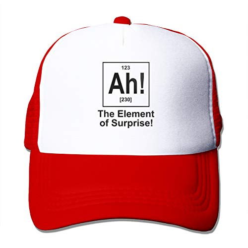 Skilltory Ah! The Element of Surprise Trucker Hats Classic Baseball Cap Adults Unisex Adjustable Original Custom Made Snapback Hat Cotton Red One Size