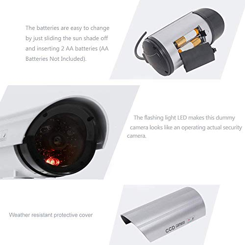WALI Bullet Dummy Fake Surveillance Security CCTV Dome Camera Indoor Outdoor with 1 Flashing LED Light and Security Alert Sticker Decals Wl-S1-4 (Silver), 4 Pack