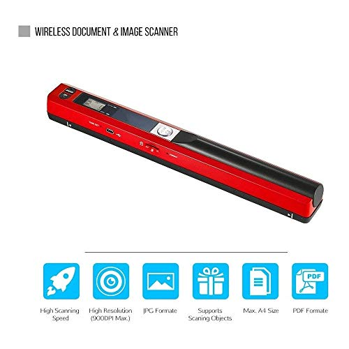 For Sale! ASSAUU_ Portable Handheld Wand Wireless Scanner A4 Size 900DPI JPG/PDF Formate LCD Display...