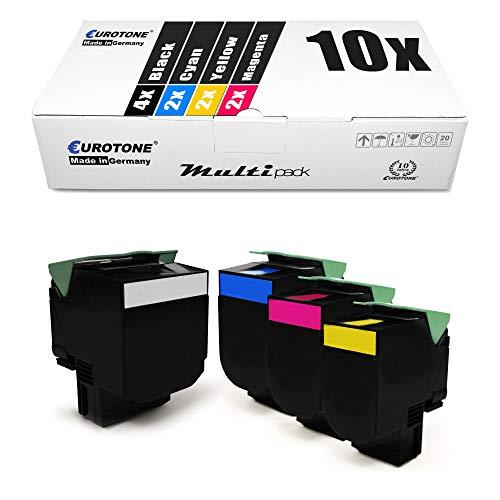 Eurotone XL - Juego de 10 tóneres compatibles con Lexmark CS 421 521 622 CX 421 522 622 625 DN adn ade sustituye a 78C0X10 20 30 40