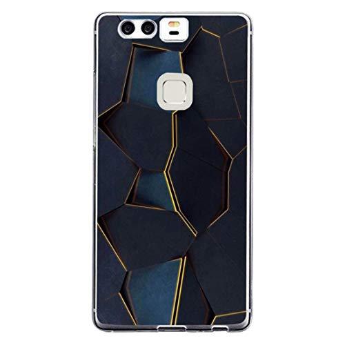 Huawei P9 Hülle, 14chvily Schutzhülle Huawei P9 Plus Handyhülle Soft Marmor Cover Rückschale Blume Flüssigkristall Silicone Schutz Shockproof Handytasche für Huawei P9 Plus - Ultra dünn (3.0, P9 Plus)