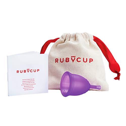 Ruby Cup - Copa menstrual hipoalergenica- talla S (pequeña, flujo ligero) – VIOLETA – Incluye donación de copa. Perfecta para principiantes. Una alternativa a los tampones/compresas práctica y fiable.