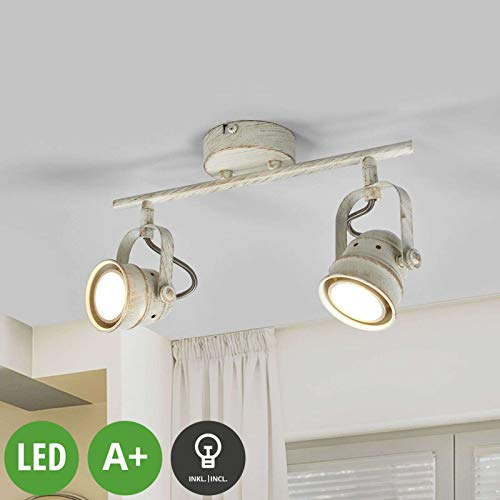 Lampenwelt LED Deckenleuchte \'Leonor\' (Retro, Vintage, Antik) in Weiß aus Metall u.a. für Wohnzimmer & Esszimmer (2 flammig, GU10, A+, inkl. Leuchtmittel) - Lampe, LED-Deckenlampe, Deckenlampe