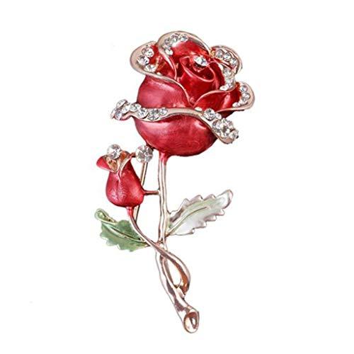 DAGONGREN Broche Red Manera de Las señoras Rose, Broche del Cristal del Rhinestone, joyería Vestido mantón de la Bufanda de Clip