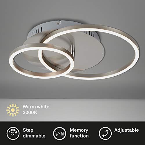 Briloner Leuchten - Éclairage plafonnier LED, plafonnier à intensité réglable avec fonction mémoire, 1 module LED pivotant, 30 Watt, 2 400 Lumen, 3 000 Kelvin, nickel mat, 390x300x80mm (LxlxH)