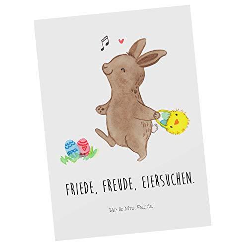 Mr. & Mrs. Panda Karte, Grußkarte, Postkarte Hase Eiersuche mit Spruch - Farbe Weiß