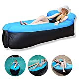 Inflatable Lounger, Lazy Air Sofa with Headrest Waterproof Couch Bed with Carry Bag Portable Indoor/Outdoor Lounger for Camping, Hiking, Beach, Park, Pool Float (Blue)
