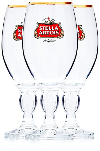 Stella Artois 3-Pack Original Large Beer Glass Chalices, 50cl