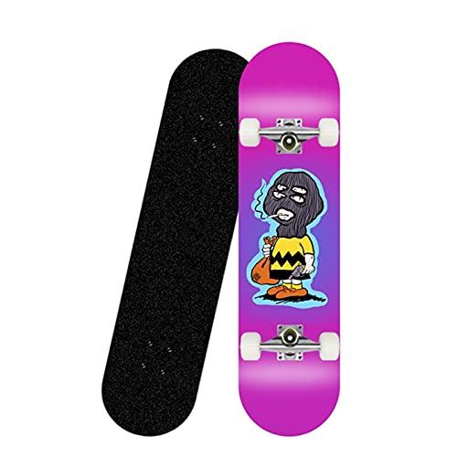 QUNHU Monopatín para niños, patineta de Doble Kick de 31 Pulgadas para Principiantes con Cubierta de Arce, diseños múltiples para niños y niñas (Color : Q)