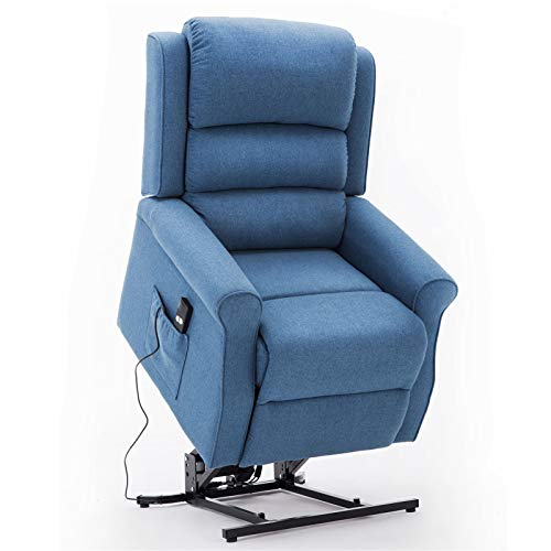 FCQuality OKIN Motor Power Lift Recliner Chair for Elderly Soft Linen Fabric Electric Recliner Sofa with 300 LBs Capacity Stand Up Recliner Lift Chair with Side Pocket & Remote Control, Blue
