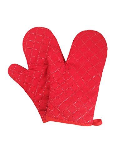 Camilife 2 Stücke Verdickte Hitzebeständige Ofenhandschuhe Topflappen Mikrowellenofen Handschuhe Backhandschuhe Silikon rutschfest-Rot, Stoff, Breite 18cm Länge 28cm