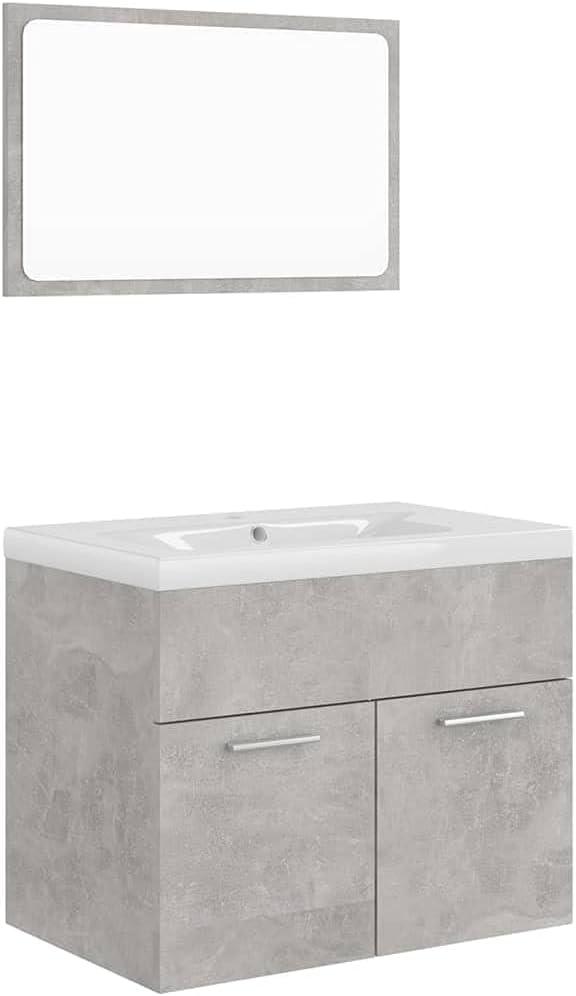 vidaXL Conjunto de Muebles de Baño Aseo Inodoro Armario Lavabo Empotrado Fregadero Escurridor de Empuje Grifo Espejo Tocador Aglomerado Gris Hormigón