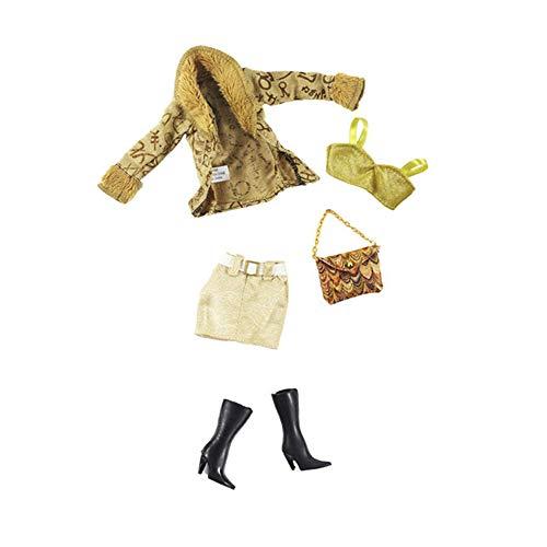 Hdsght Ropa de muñeca y zapatos para muñecas de 11.5 pulgadas, accesorios de disfraz, falda, bolso de mano, botas de pantorrilla, traje de moda (#F)