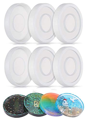 6pcs Coaster Molds for Resin Casting, Round Silicone Resin Mold for Casting with Resin Concrete Cement Clay, Diameter 3.94'/10cm