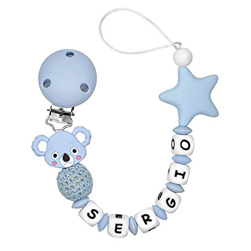RUBY - Chupetero Personalizado Para Bebé con Nombre Bola Silicona Antibacteria con Koala de Silicona Alimentaria (Koala Azul)