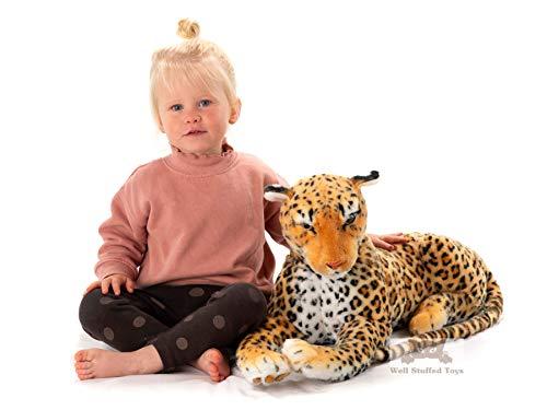 PAWS Grande Peluche léopard 100 cm rembourrée avec Queue