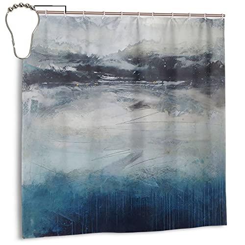 Cmefzd Indigo Duschvorhang, abstraktes Gemälde, 183 x 183 cm, lustiger Duschvorhang, Plane, Badezimmer, Heimdekoration, mit 12 Kunststoffhaken