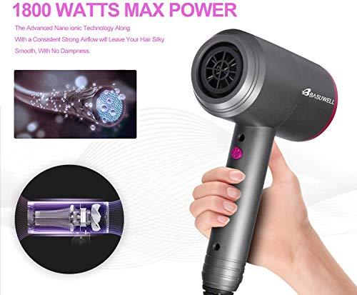 Asciugacapelli professionale, 1800 W, per asciugare i capelli ionici, 3 punte, 3 velocità, basso rumore, asciugatura per capelli da viaggio