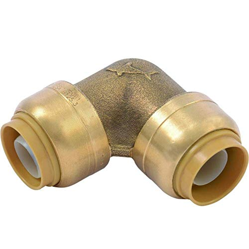 SharkBite U260LFA 90 Degree Elbow Plumbing Pipe Connecto 1 In, PEX Fittings, Push-to-Connect, Copper, CPVC, 1 inch x 1 inch, Brass