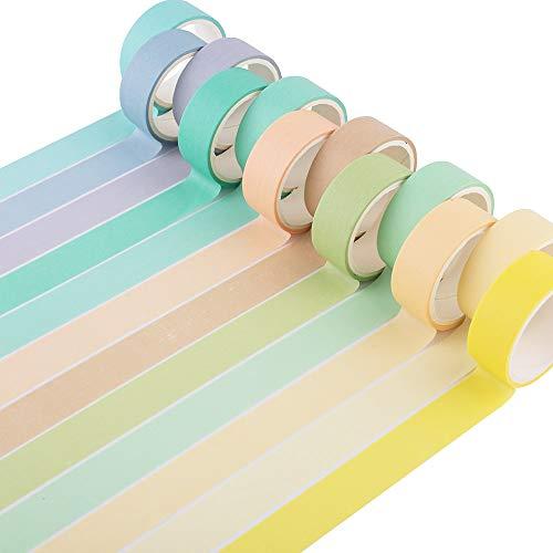 Yubbaex 12 rollos de cinta Washi natural, color caramelo cintas decorativas para bricolaje, diario de balas, manualidades, envolver álbumes de recortes (macaron 15 mm de ancho)