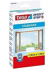 tesa Insect Stop Standaard vliegengaas voor ramen, op maat te knippen, muggennet, muggenbescherming zonder boren, wit, 130 cm x 150 cm