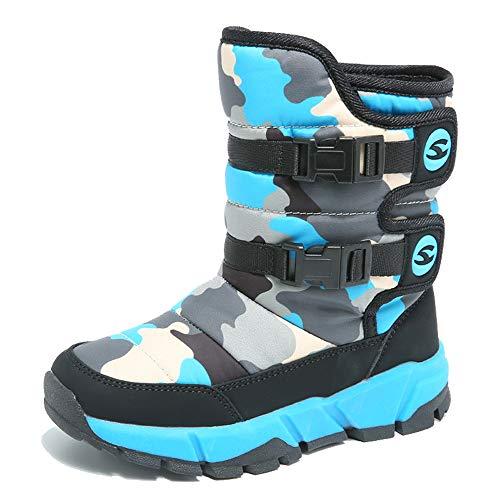 KAMIXIN Niños Botas de Nieve Impermeable Niña Botas de Invierno Zapatos Calientes Zapatos de Nieve Outdoor Zapatos de Invierno 38EU