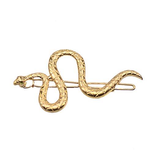 Barrettes à cheveux en forme de serpent - Style bohème - En alliage de métal texturé - Avec yeux en cristal vert - Bijoux modernes