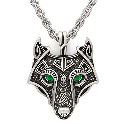 Único Hecho a Mano Ojos Antiguos Viking Wolf Collar Antiguo Cadena de Plata Amuleto Lobo Cabeza Colgante Adornos, Plata, Tres Tipos de Ojos