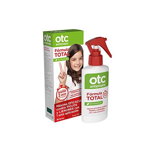 OTC Antipiojos Fórmula Total - Pediculicida Sin Insecticida para Eliminar Piojos y Liendres en 2 minutos, incluye Gorro + Lendrera - 125 ml