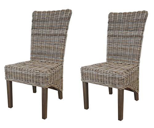 Meubletmoi – Juego de 2 sillas trenzadas de kubu natural de comedor – Estilo mimbre exótico clásico chic – Bora-Bora