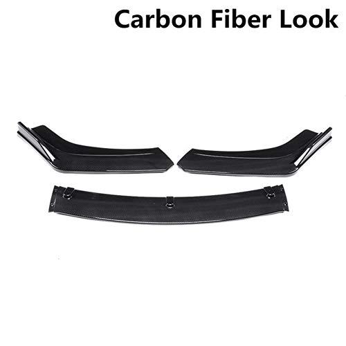XIANGSHAN 3piece Carbonlook/Schwarz Auto Front Lower Bumper Lip Diffuser Spoiler Bodykit for Honda Civic Sedan for 4dr 2016 2017 2018 (Color : C)