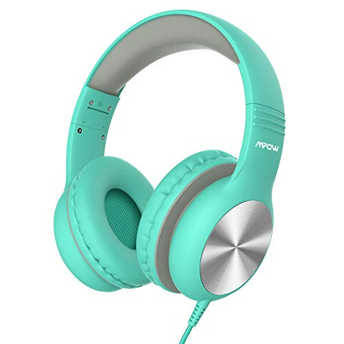 Mpow CH6 Pro Kids Headphones Over-Ear, Wired Headphones for Teens Girls Boys, HD Stereo Headphones w/Sharing Function and Volume Limiting, Folding Lightweight Headset for Cellphones Laptop Computer(GREEN)