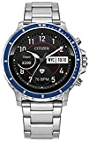 Citizen CZ Smart Watch HR Heart Rate Smartwatch 46mm Stainless Steel Bracelet with Blue topring, Powered by Google Wear OS (Model: MX0001-58X)
