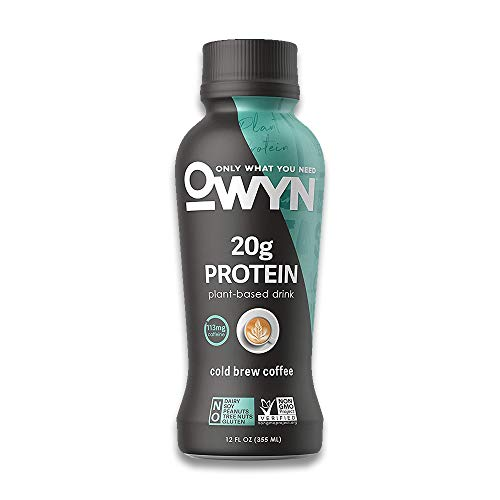 OWYN, Plant-Based Protein Shake - 100% Vegan Premier Protein Shakes, Omega 3, 20g Plant Protein, Dairy Gluten and Soy Free - Cold Brew Coffee Flavour, 355ml Pack of 12