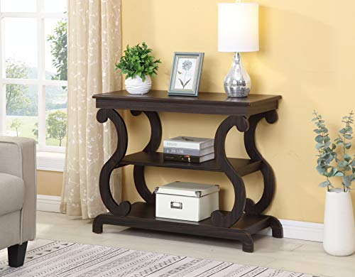 Cappuccino Finish Hall Console Sofa Entryway Accent Table Modern Design 36' Wide