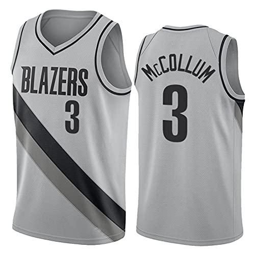 XXXD McCollum Jersey Blazers # 3 Men Basketball Jersey, Vestida de Versión Bordada Gris Sin Mangas para Adultos Cómodos Deportes Transpirables Jersey Negro L