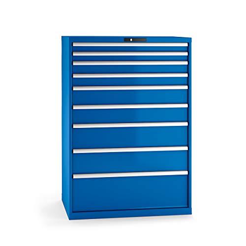 Lista Schubladenschrank, Stahlblech - HxB 1450 x 1023 mm, 9 Schubladen - Tragkraft 75 kg, enzianblau