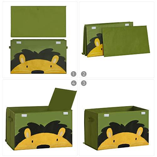 SONGMICS Aufbewahrungsbox, 60 x 35 x 38 cm, Spielzeug-Organizer, Faltbox, Stoffbox mit 2 Griffen und Deckel, Aufbewahrungskiste, für Kinderzimmer, Spielzimmer, Schlafzimmer, grün-gelb RFB741C01 - 5