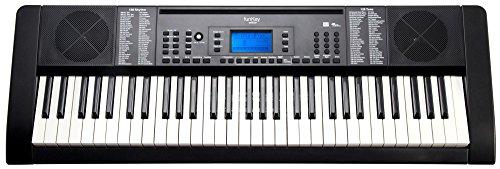 Funkey 61 Edition Pro Keyboard (128 geluiden, 128 ritmes, 10 demosongs, LCD-display met gedetailleerde weergave, MP3-/USB-poort, voeding, muziekstandaard) zwart