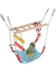 Bird Toy Wood Ladder Winter Warm Hammock Nest Bed Parrot Parakeet Cockatiel Conure Hamster Chinchilla Cage TSWing Stand