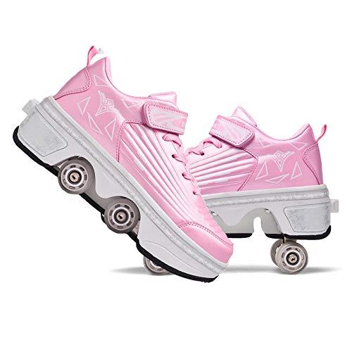 RDJSHOP Zapatillas Deformadas Multifuncionales, Cool Parkour Shoes para Adultos/Niños, Patín de Ruedas Retráctil, Ideal para Viajes de Patinaje Deportivo al Aire Libre,Pink-EU42/UK8.5