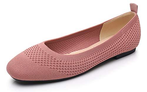 VenusCelia Women's Flexible Knit Flat Shoe (38,MauvePink)