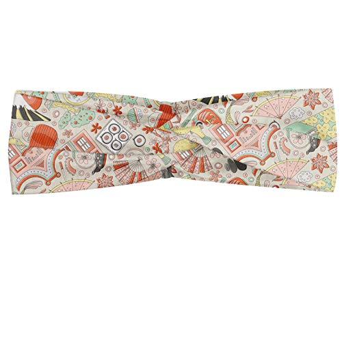 ABAKUHAUS Diadame japonés, Banda Elástica y Suave para Mujer para Deportes y Uso Diario Doodle de los pescados de Koi Sakura Bonsái y Geisha en colores pastel del tono Diseño complejo, Multicolor
